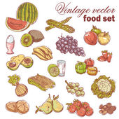 Vintage hand-drawn food set with fruit and vegetables