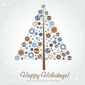 Stylized design Christmas tree with xmas toys