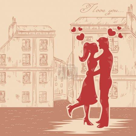 couple heureux en amour avec les coeurs