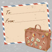 Air mail travel postcard with old grunge envelope