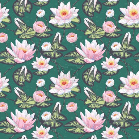 Floral seamless pattern with water lily