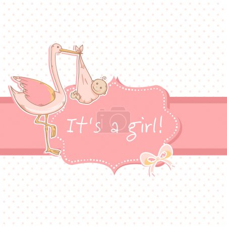 Cute baby girl announcement card with stork and child