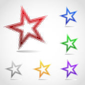 A rotated star icon made of halftone dots