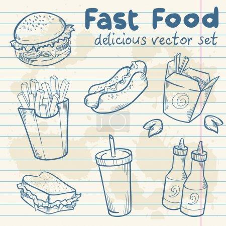 Illustration pour Ensemble délicieux vecteur dessiné à la main Fastfood avec hamburger, hot dog et frites sur feuille de papier note - image libre de droit