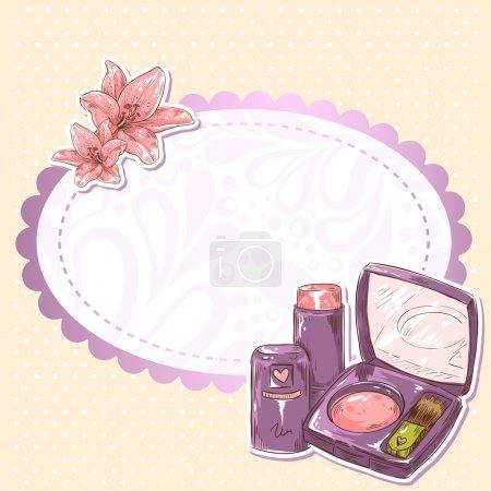 Illustration pour Fard à joues maquillage soin de la peau, ombre à paupières et rouge à lèvres carte isolée sur fond grunge à pois - image libre de droit