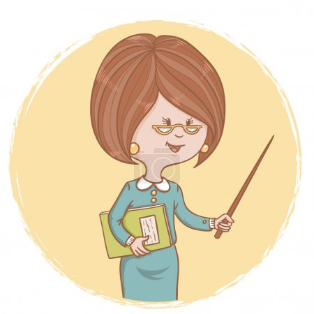 Illustration of cute woman teacher with a book and a pointer