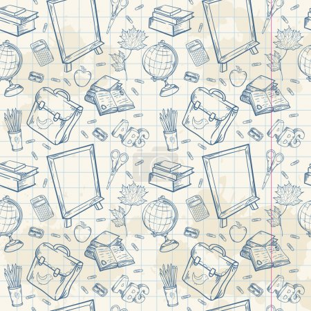Illustration for Back to school seamless pattern with various study items in cartoon hand drawn style - Royalty Free Image