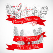 Christmas greeting banners with decorative winter elements
