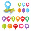 Colorful web buttons and map location pointers...
