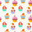 Cute colorful seamless pattern with delicious muff...