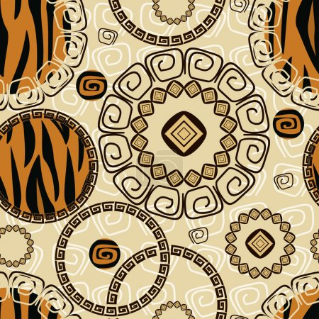 African style seamless with tiger skin pattern