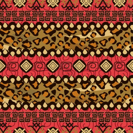 Illustration for African style seamless with cheetah skin pattern - Royalty Free Image