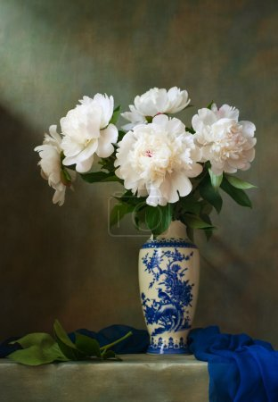 Photo for Still life with white peonies in a chinese vase - Royalty Free Image