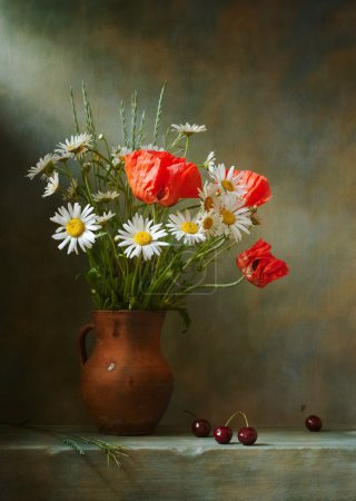 Photo for Still life with poppies and daisies - Royalty Free Image