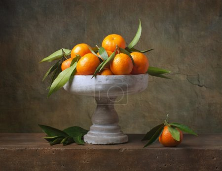 Photo for Vintage still life with tangerines in vase for fruits - Royalty Free Image