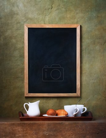 Photo for Cups and chalk board menu - Royalty Free Image