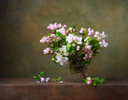 Still life with apple blossom branches