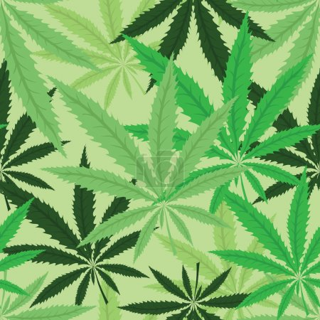Illustration for Green hemp floral seamless background, cannabis leaf background texture. Vector marijuana leaves illustration. - Royalty Free Image