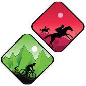 Biker and horse rider silhouette in sunrise