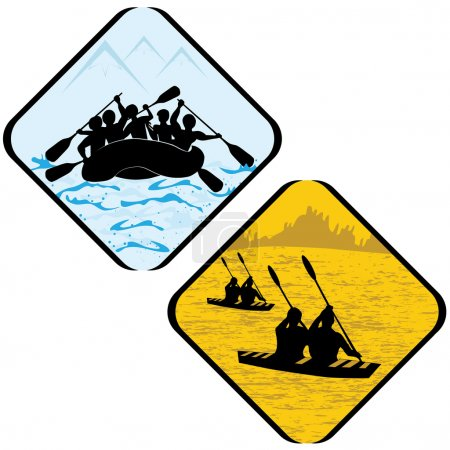 Water Sea Sport Rowing Rafting Kayak Icon Symbol Sign Pictogram.