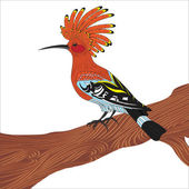 Bird hoopoe vector illustration Eurasian Hoopoe (Upupa epops) back profile standing on a branch isolated on a white background
