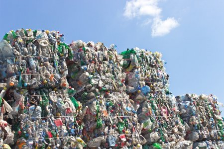 Photo for Stack of plastic bottles ready for recycling - Royalty Free Image