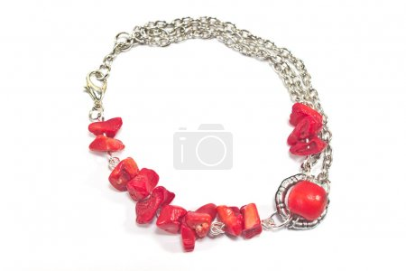Red amethyst stone bracelet isolated on white