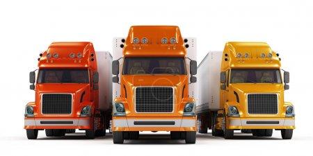 Photo pour Camions rouges, orange et jaunes isolés sur fond blanc - image libre de droit