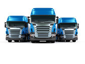 Heavy blue trucks isolated on white background