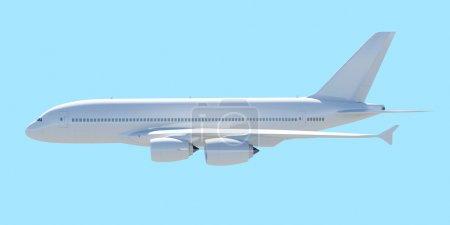 Photo pour Avion de ligne blanche. une vue de côté. rendu isolé sur un fond bleu - image libre de droit