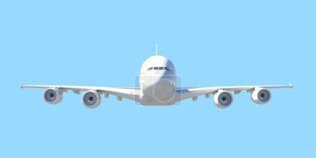 White passenger plane. Front view