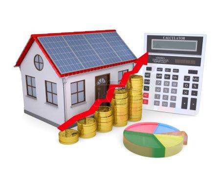 Foto de Casa con paneles solares, calculadora, horario, y monedas. Render aislado sobre un fondo blanco - Imagen libre de derechos