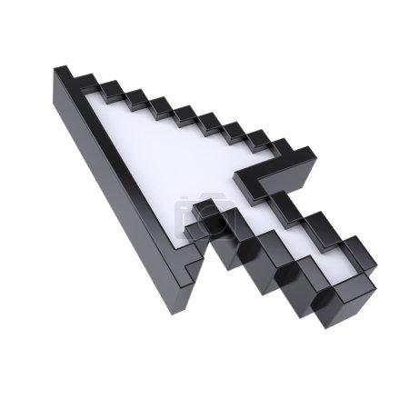 Photo pour Le pointeur de flèche par pixels. Rendre isolé sur un fond blanc - image libre de droit