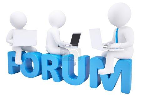 Photo pour 3d homme assis avec un ordinateur portable sur le forum mot. rendu isolé sur fond blanc - image libre de droit
