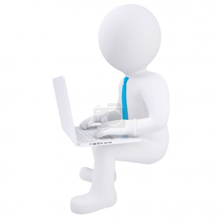 Photo for 3d white man sitting with a laptop. Isolated render on a white background - Royalty Free Image
