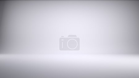 Photo pour Studio photo blanc vide de forme rectangulaire. 3d Render - image libre de droit