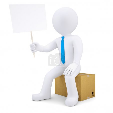 3d man sitting on cardboard box and holding poster