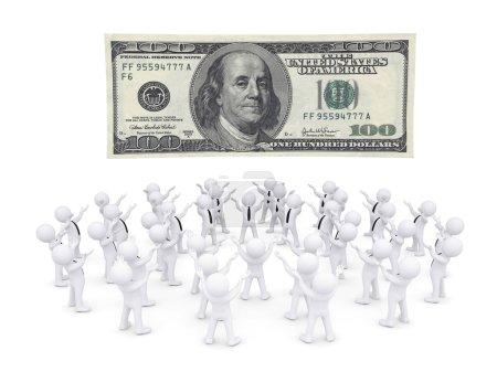 Group of white people worshiping dollar banknote. ...