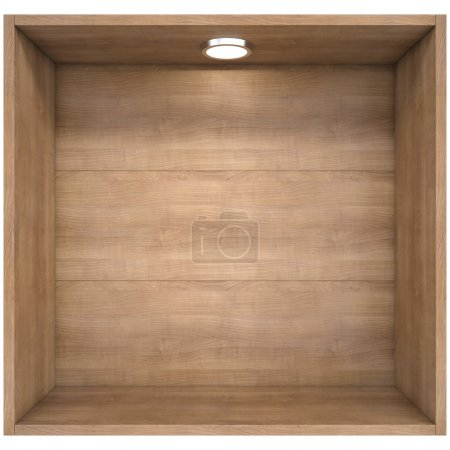 Photo for Wooden shelf with a light source. Isolated render on a white background - Royalty Free Image