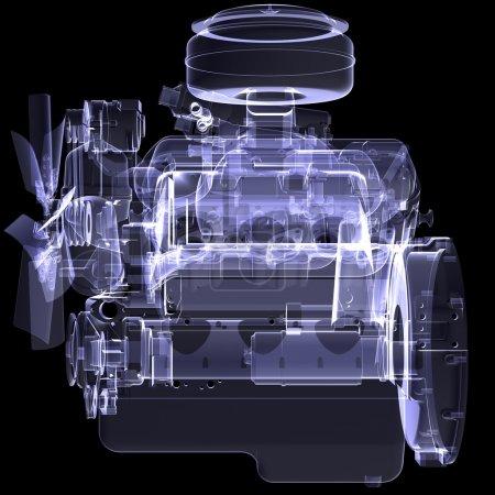 Diesel engine. X-ray render