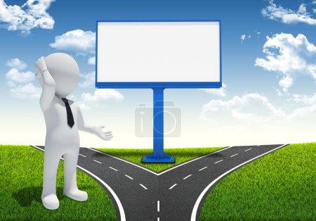 Photo pour 3D homme blanc et le grand panneau d'affichage vide. bifurcation de la route sur le fond - image libre de droit