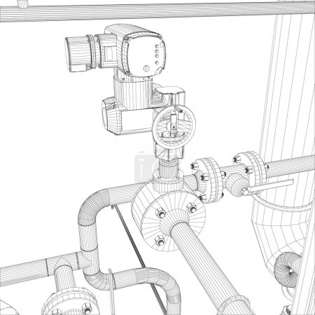 Illustration for Wire-frame industrial equipment. EPS 10 vector format - Royalty Free Image