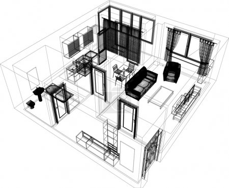 Illustration for Layout of the apartment. Wire-frame render on white background. EPS 10 vector format - Royalty Free Image