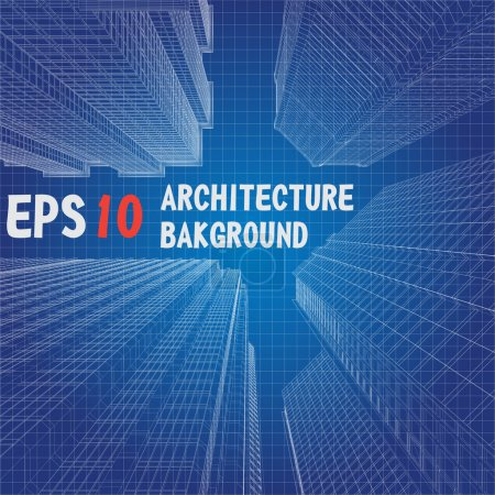 Photo for Vector architecture background. White drawing on blue gradient. EPS 10 format - Royalty Free Image
