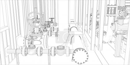 Illustration for Industrial equipment. Wire-frame 3d render. Vector format - Royalty Free Image
