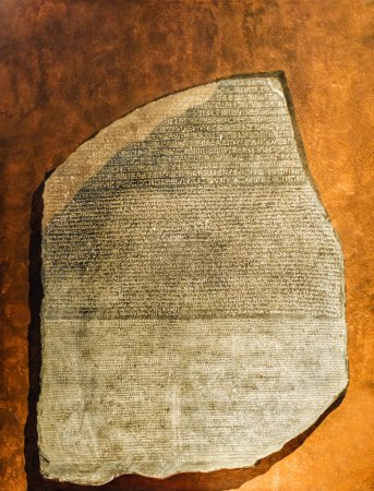 Photo for Replica of Rosetta Stone in Greek, Egyptian and demotic scripts - Royalty Free Image