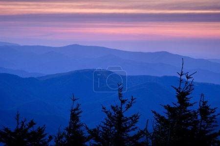 Mountain Ridges at Sunset