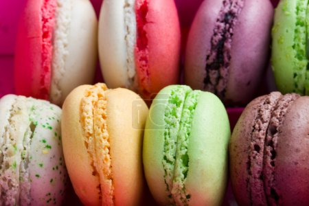 Photo for Pile of french multicolored macaroons close up - Royalty Free Image