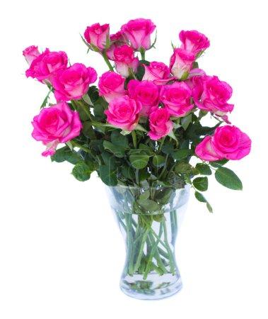 Photo pour Roses roses dans un vase isolé sur fond blanc - image libre de droit
