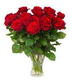 """Постер, картина, фотообои """"Букет цветущего тёмно красных роз в вазе"""""""